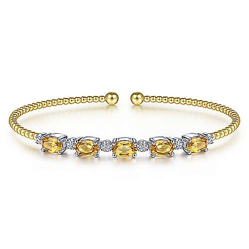 14K White-Yellow Gold Bujukan Bead Cuff Bracelet with Citrine and Diamond Stations - designed by Jewelry Designers Gabriel & Co., New York. Passion, Love & You.