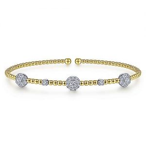14K White-Yellow Gold Bujukan Bead Cuff Bracelet with Diamond Cluster Stations - designed by Jewelry Designers Gabriel & Co., New York. Passion, Love & You.