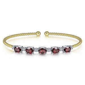 14K White-Yellow Gold Bujukan Bead Cuff Bracelet with Garnet and Diamond Stations - designed by Gabriel & Co., New York. Passion, Love & You.