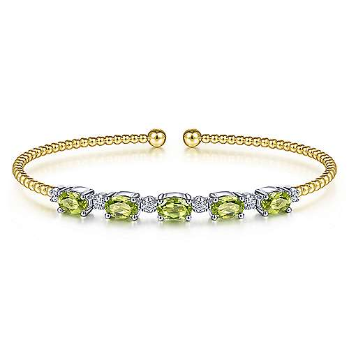 14K White-Yellow Gold Bujukan Bead Cuff Bracelet with Peridot and Diamond Stations - designed by Jewelry Designers Gabriel & Co., New York. Passion, Love & You.