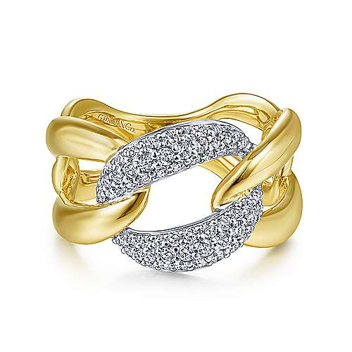 14K White-Yellow Gold Large Chain Link Diamond Station Ring - designed by jewelry designer Gabriel & Co., New York. Passion, Love & You.