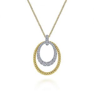 14K White-Yellow Gold Oval Twisted Rope and Pavé Diamond Pendant Necklace - designed by Jewelry Designers Gabriel & Co., New York. Passion, Love & You.