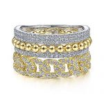 14K White-Yellow Gold Wide Band Layered Diamond Ring - designed by Jewelry Designers Gabriel & Co., New York. Passion, Love & You.