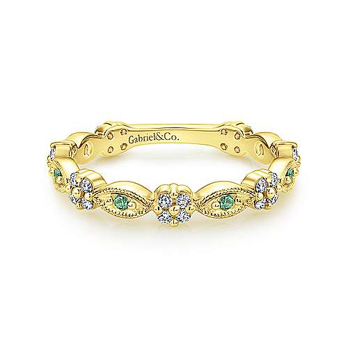 14K Yellow Gold Alternating Emerald and Diamond Station Stackable Ring - designed by Gabriel & Co., New York. Passion, Love & You.