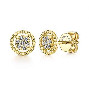 14K Yellow Gold Beaded Round Frame Diamond Cluster Stud Earrings - designed by Jewelry Designers Gabriel & Co., New York. Passion, Love & You.