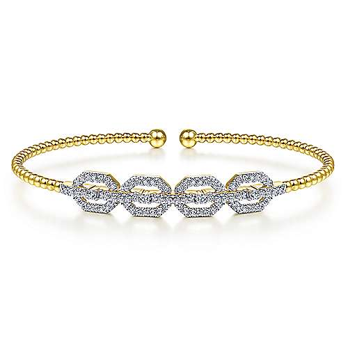 14K Yellow Gold Bujukan Bead Cuff Bracelet with Diamond Pave Links - designed by Jewelry Designers Gabriel & Co., New York. Passion, Love & You.