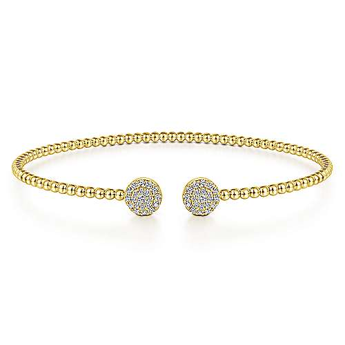 14K Yellow Gold Bujukan Bead Split Cuff Bracelet with Round Pavé Diamond Discs - designed by Jewelry Designers Gabriel & Co., New York. Passion, Love & You.