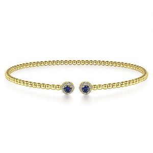 14K Yellow Gold Bujukan Bead Split Cuff Bracelet with Sapphire and Diamond - designed by Gabriel & Co., New York. Passion, Love & You.