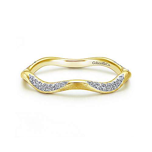 14K Yellow Gold Curved Diamond Stackable Ring - designed by Jewelry Designers Gabriel & Co., New York. Passion, Love & You.