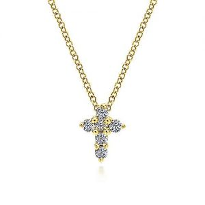 14K yellow gold diamond cross pendant necklace, a petite gold and diamond cross embellishes this beautifully polished gold necklace.