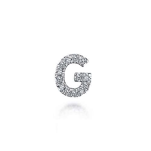 14K Yellow Gold Diamond G Pendant designed by jewelry designer Gabriel & Co., New York. Passion, Love & You.