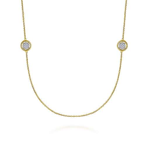 14K Yellow Gold Diamond Necklace - designed by jewelry designer Gabriel & Co., New York. Passion, Love & You.