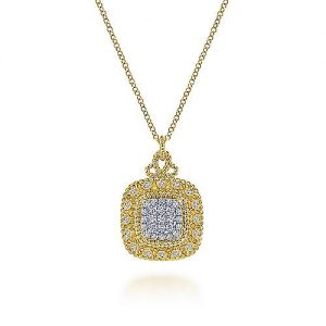 14K Yellow Gold Diamond Pavé Cushion Shape Pendant Necklace - designed by Jewelry Designers Gabriel & Co., New York. Passion, Love & You.