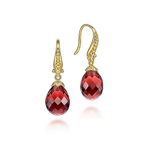 14K Yellow Gold Faceted Garnet Teardrop Dangly Earrings - designed by Jewelry Designers Gabriel & Co., New York. Passion, Love & You.