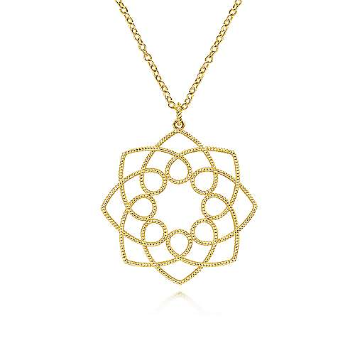 14K Yellow Gold Filigree Flower Pendant Necklace   Joseph's Jewelry
