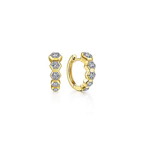 14K Yellow Gold Layered 10mm Diamond Huggie Earrings - designed by Jewelry Designers Gabriel & Co., New York. Passion, Love & You.