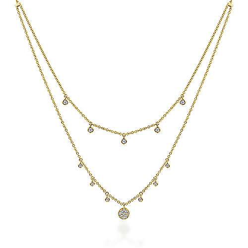 14K Yellow Gold Layered Diamond Charm Drop Necklace - designed by jewelry designer Gabriel & Co., New York. Passion, Love & You.