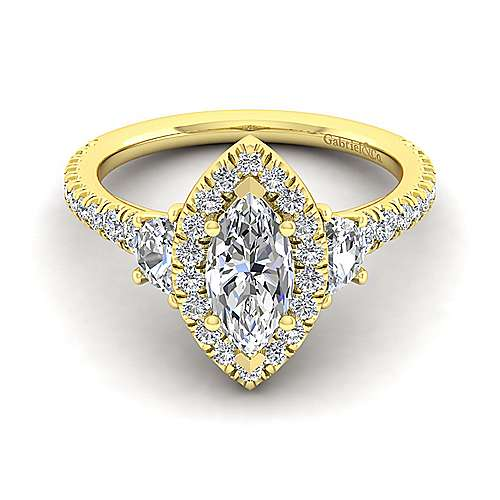 14K Yellow Gold Marquise Shape Three Stone Halo Diamond Engagement Ring - designed by Gabriel & Co., New York. Passion, Love & You.