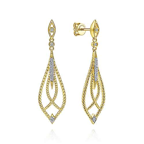14K Yellow Gold Open Twisted Rope Drop Earrings with Diamond Accents - designed by Jewelry Designers Gabriel & Co., New York. Passion, Love & You.