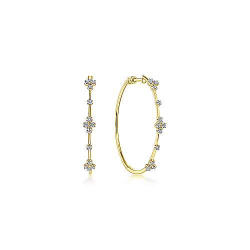 14K Yellow Gold Prong Set 40mm Round Classic Diamond Hoop Earrings - designed by Jewelry Designers Gabriel & Co., New York. Passion, Love & You.