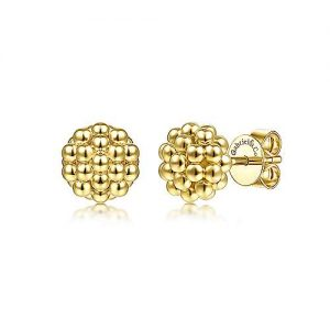 14K Yellow Gold Round Beaded Stud Earrings - designed by Jewelry Designers Gabriel & Co., New York. Passion, Love & You.