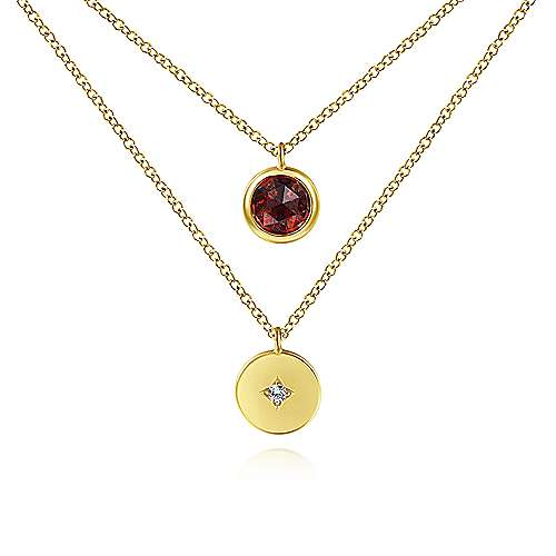 14K Yellow Gold Round Bezel Set Garnet and Diamond Disc Necklace - designed by Gabriel & Co., New York. Passion, Love & You.
