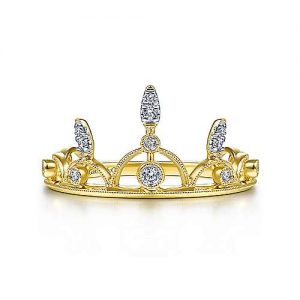 14K Yellow Gold Spiked Diamond Crown Ring - designed by Jewelry Designers Gabriel & Co., New York. Passion, Love & You.