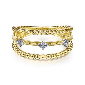 14K Yellow Gold Three Row Diamond Station Open Ring - designed by jewelry designer Gabriel & Co., New York. Passion, Love & You.