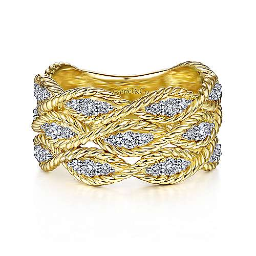 14K Yellow Gold Twisted Braided Diamond Wide Band Ring - designed by Jewelry Designers Gabriel & Co., New York. Passion, Love & You.