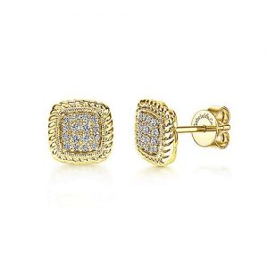 14K Yellow Gold Twisted Cluster Diamond Stud Earrings - designed by Jewelry Designers Gabriel & Co., New York. Passion, Love & You.
