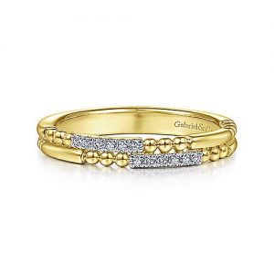 14K Yellow Gold Two Row Beaded Diamond Stackable Ring - designed by Jewelry Designers Gabriel & Co., New York. Passion, Love & You.