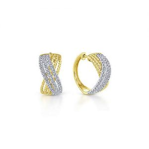 14K Yellow/White Gold 15mm Twisted Criss Cross Diamond Huggie Earrings - designed by Jewelry Designers Gabriel & Co., New York. Passion, Love & You.