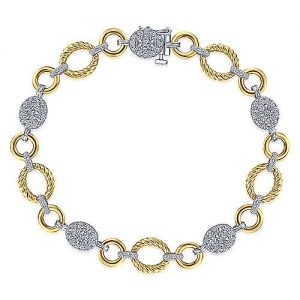 14K Yellow-White Gold Plain and Twisted Rope Link Bracelet with Pavé Diamond Cluster Stations - designed by Jewelry Designers Gabriel & Co., New York. Passion, Love & You.