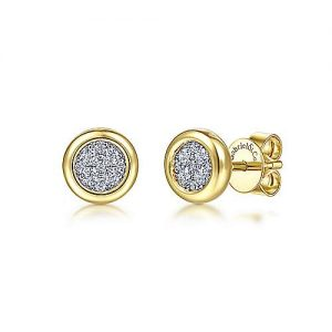 14K Yellow-White Gold Round Bezel Set Diamond Pave Stud Earrings - designed by Jewelry Designers Gabriel & Co., New York. Passion, Love & You.