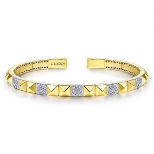 14K Yellow and White Gold Pyramid Bangle with Pavé Diamond Stations - designed by Jewelry Designers Gabriel & Co., New York. Passion, Love & You.