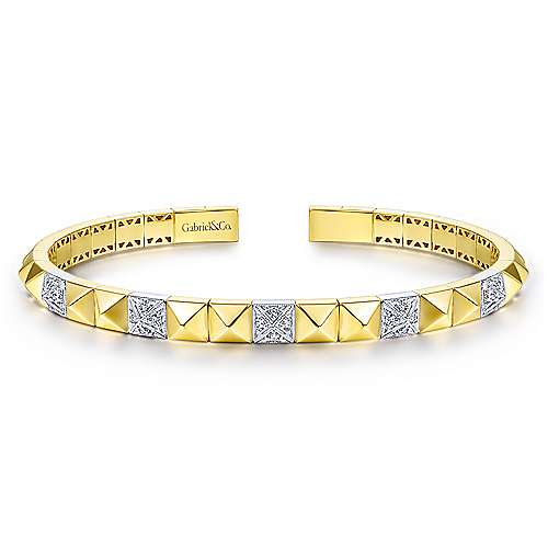 14K Yellow and White Gold Pyramid Bangle with Pave Diamond Stations - designed by Gabriel & Co., New York. Passion, Love & You.