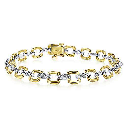14K Yellow and White Gold Square Link Tennis Bracelet with Diamond Link Connectors - designed by Jewelry Designers Gabriel & Co., New York. Passion, Love & You.