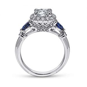 Gabriel & Co. 18K White Gold Cushion Three Stone Halo Round Sapphire and Diamond Engagement Rings