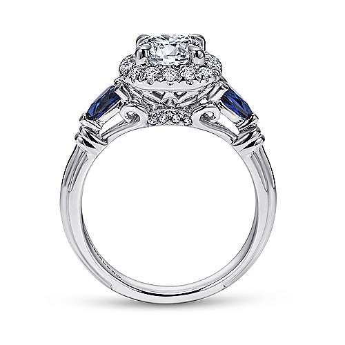 18K White Gold Cushion Three Stone Halo Round Sapphire and Diamond Engagement Ring - designed by Jewelry Designers Gabriel & Co., New York. Passion, Love & You.