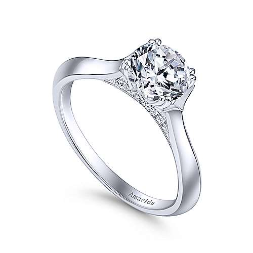 18K White Gold Round Diamond Engagement Ring - designed by Jewelry Designers Gabriel & Co., New York. Passion, Love & You.