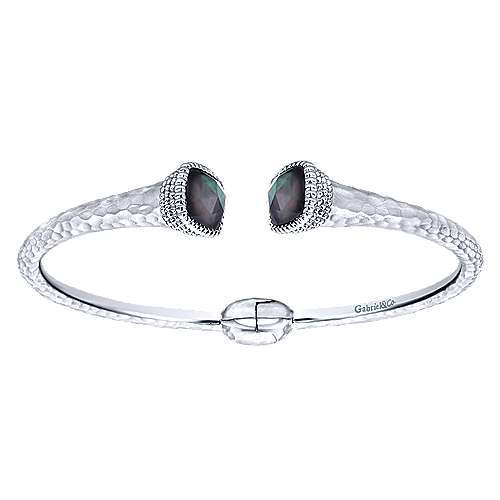 925 Silver and Stainless Steel Rock Crystal and Black Pearl Split Bangle - designed by Jewelry Designers Gabriel & Co., New York. Passion, Love & You.