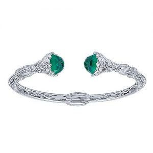 925 Silver and Stainless Steel Rock Crystal and Green Onyx Open Bangle - designed by Jewelry Designers Gabriel & Co., New York. Passion, Love & You.