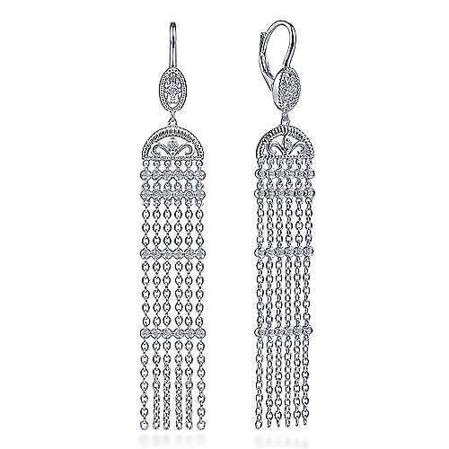 925 Sterling Silver Cascading Drop White Sapphire Leverback Earrings - designed by Jewelry Designers Gabriel & Co., New York. Passion, Love & You.