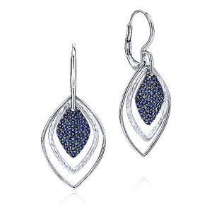 925 Sterling Silver Double Rhombus and Sapphire Cluster Drop Earrings - designed by Gabriel & Co., New York. Passion, Love & You.