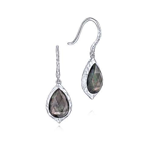 925 Sterling Silver Hammered Pear Shaped Rock Crystal and Black MOP Drop Earrings - designed by Gabriel & Co., New York. Passion, Love & You.