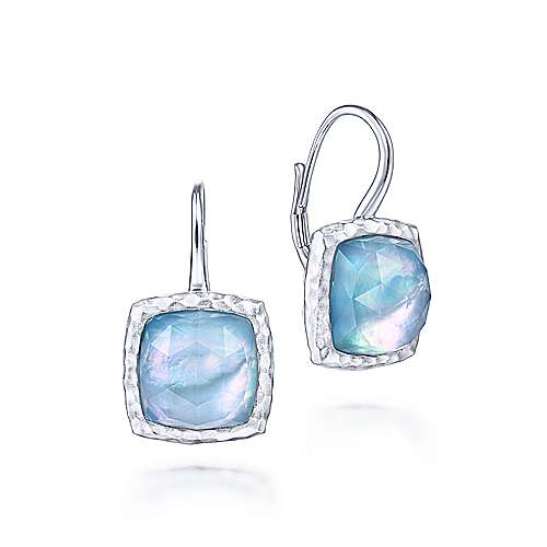 925 Sterling Silver Rock Crystal/MOP/Turquoise Cushion Drop Earrings - designed by Jewelry Designers Gabriel & Co., New York. Passion, Love & You.