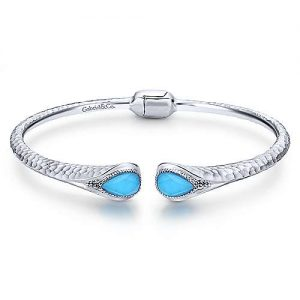 925 Sterling Silver Rock Crystal and Turquoise Split Bangle - designed by Jewelry Designers Gabriel & Co., New York. Passion, Love & You.