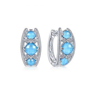 925 Sterling Silver Wide Rock Crystal/Turquoise/White Sapphire Huggie Earrings - designed by Gabriel & Co., New York. Passion, Love & You.