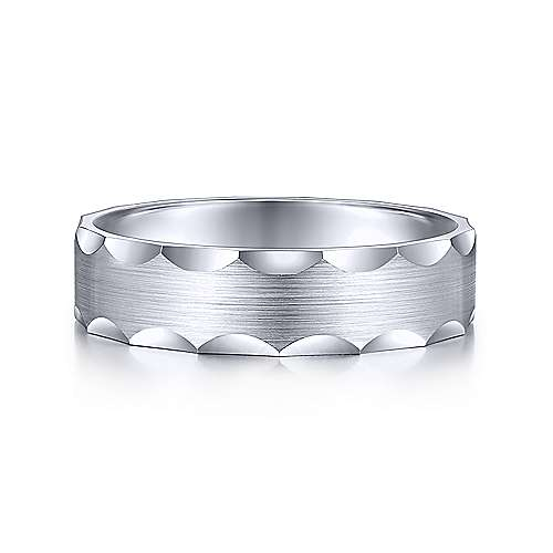 14K White Gold 6mm - Satin Grooved Edge Mens Wedding Band by Gabriel & Co., crafted from 14K white gold with a handsome satin finish.