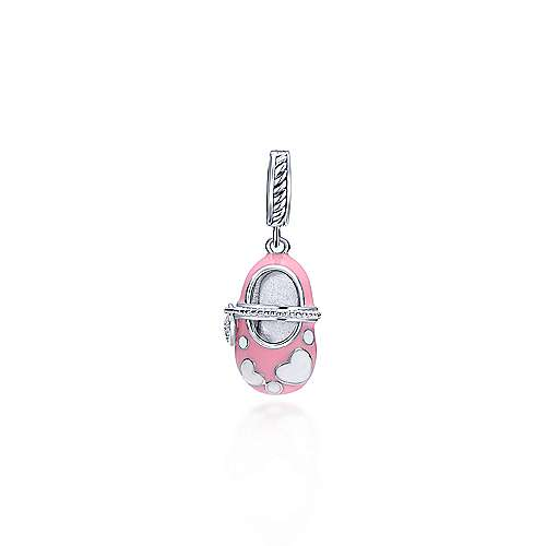 Pink Enamel Sterling Silver Baby Girl Shoe Pendant with Diamonds designed by jewelry designer Gabriel & Co., New York. Passion, Love & You.